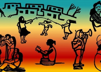 Graphic illustrations of community members playing guitar, jumping rope, reading, and holding a baby.